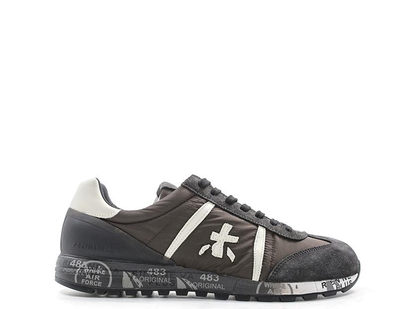 Zapatos tenis de moda marrón Premiata Man Tela, Gamuza Lucy - 3203